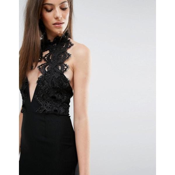 レア レディース ワンピース トップス Rare London High Neck Plunge Lace Mini Dress