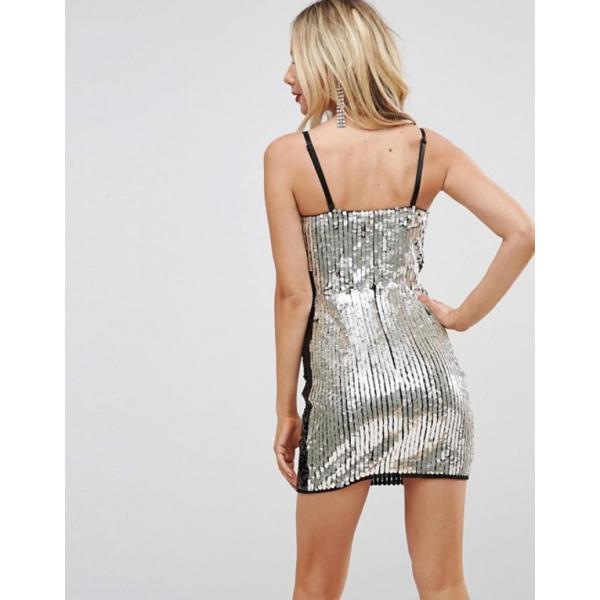 エイソス レディース ワンピース トップス ASOS Embellished Lightning Bolt Bandeau Mini Dress