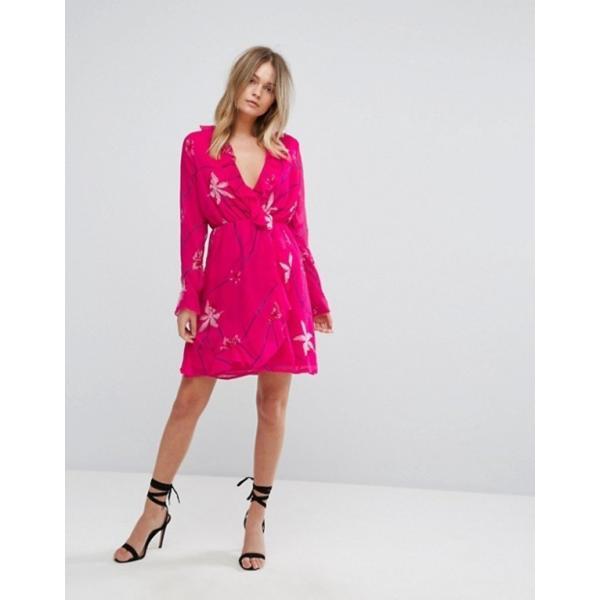 ヴェロモーダ レディース ワンピース トップス Vero Moda Printed Ruffle Tea Dress