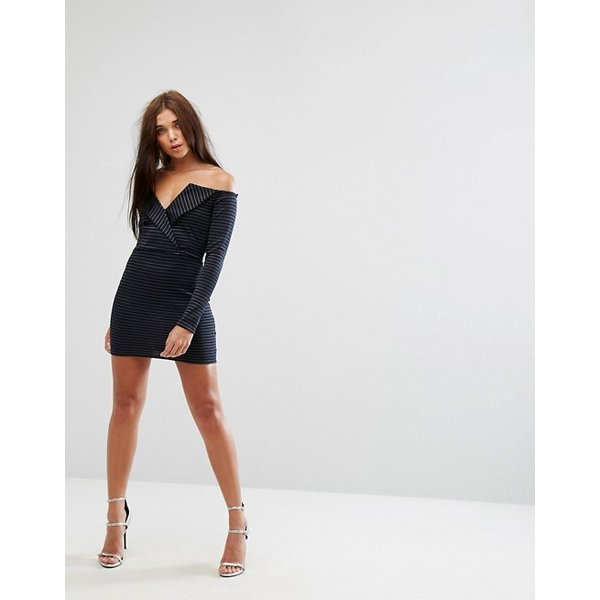 ミスガイデッド レディース ワンピース トップス Missguided Bardot Tux Mini Dress