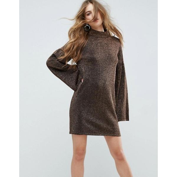 エイソス レディース ワンピース トップス ASOS Knitted Dress in Metallic with Wide Sleeves