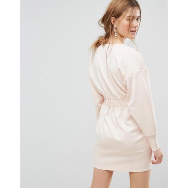エイソス レディース ワンピース トップス ASOS Mini V Neck Dress with Elastic Cuff & Waist Detail