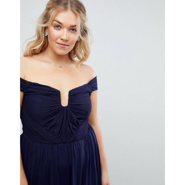 エイソス レディース ワンピース トップス ASOS CURVE WEDDING Ruched Mesh Bardot Maxi Dress