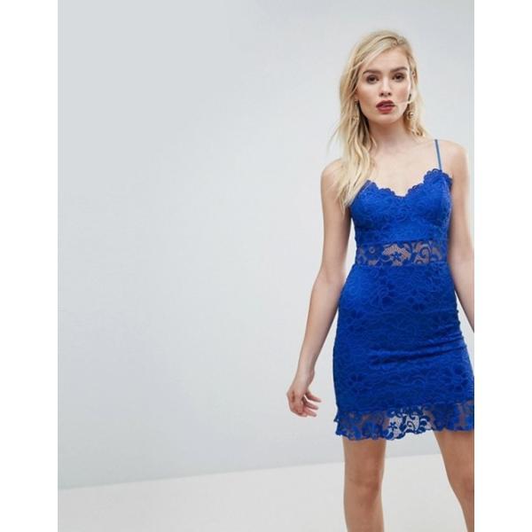 エイソス レディース ワンピース トップス ASOS Lace Cami Bodycon Pephem Mini Dress