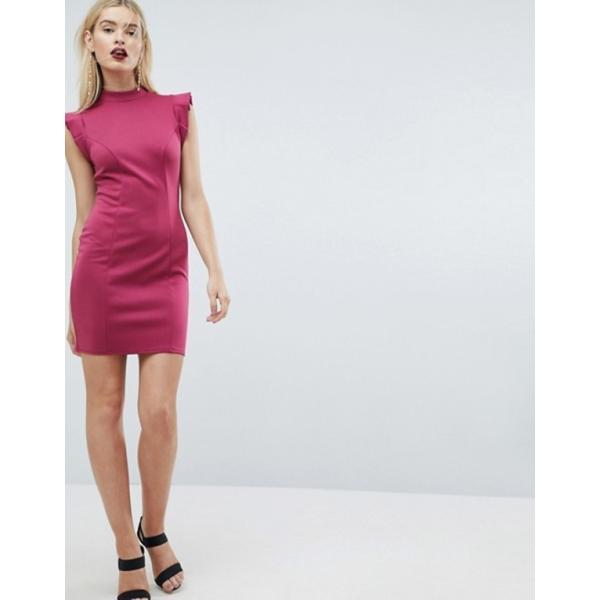 エイソス レディース ワンピース トップス ASOS Mini High Neck Pencil Dress With Cut Out Back And Shoulder Detail