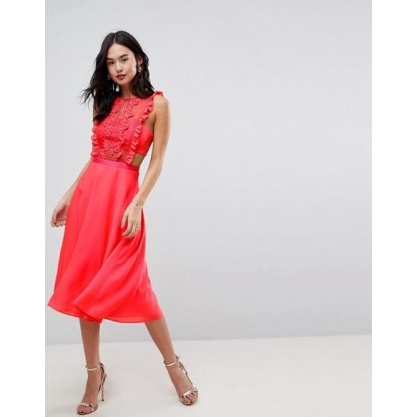 エイソス レディース ワンピース トップス ASOS Lace Pinafore Pleated Midi Dress