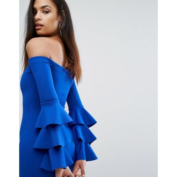 クラブエル レディース ワンピース トップス Club L Bardot Mini Dress With Exaggerated Layered Sleeve Detail