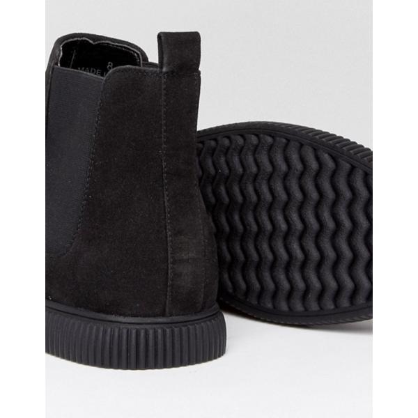 エイソス メンズ ブーツ・レインブーツ シューズ ASOS Chelsea Boots In Black Faux Suede With Creeper Sole