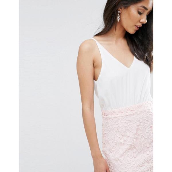 アックスパリ レディース ワンピース トップス Ax Paris Cream 2 In 1 Crochet Skirt Mini Dress
