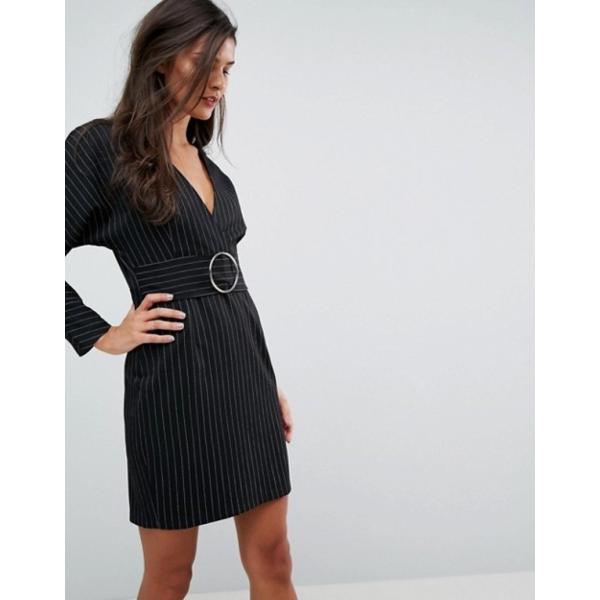エイソス レディース ワンピース トップス ASOS Stripe Mini 80's Dress with Metal Belt