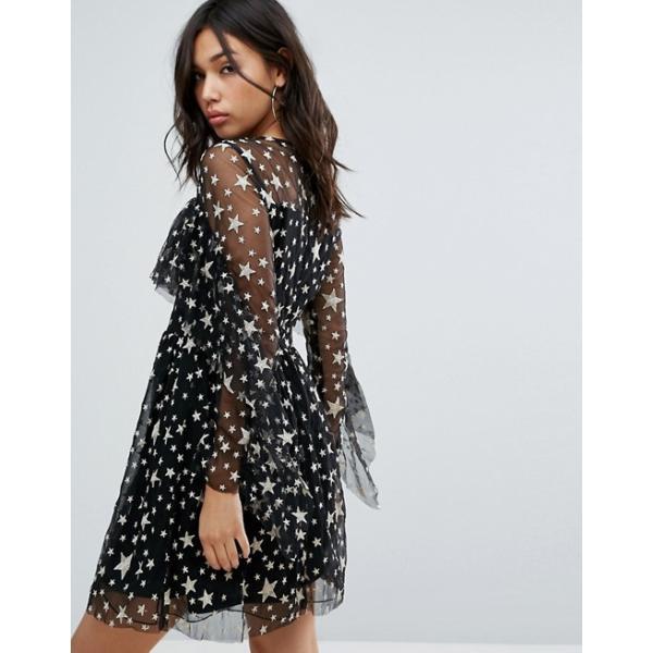 ブーフー レディース ワンピース トップス Boohoo Ruffle Trim Star Print Mesh Mini Dress