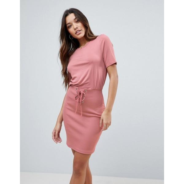 エイソス レディース ワンピース トップス ASOS Mini Dress With Rib Skirt And Corset Waist