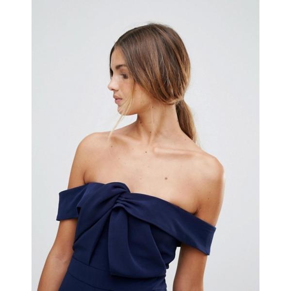 トゥルーデカデンス レディース ワンピース トップス True Decadence Premium Bardot Scuba Pencil Dress With Knot Front Detail