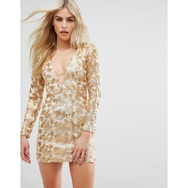 ラブトライアングル レディース ワンピース トップス Love Triangle V Neck Mini Dress In All Over Metallic Lace