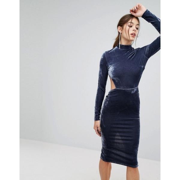 プリティリトルシング レディース ワンピース トップス PrettyLittleThing High Neck Open Back Velvet Midi Dress