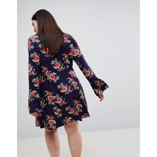 エイソス レディース ワンピース トップス ASOS CURVE Mini Dress With Hanky Hem And Frill Cuff In Spot Floral Print