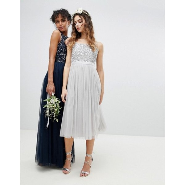 マヤ レディース ワンピース トップス Maya Cami Strap Sequin Top Tulle Detail Midi Bridesmaid Dress