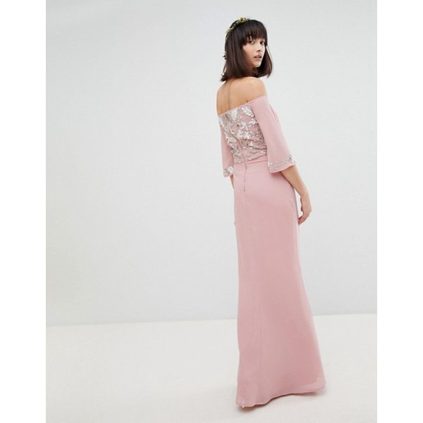 マヤ レディース ワンピース トップス Maya All Over Embellished Bardot Maxi Bridesmaid Dress With Fluted Sleeves