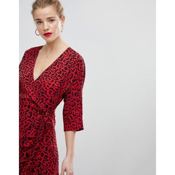 エイソス レディース ワンピース トップス ASOS Animal Print Mini Wrap Dress