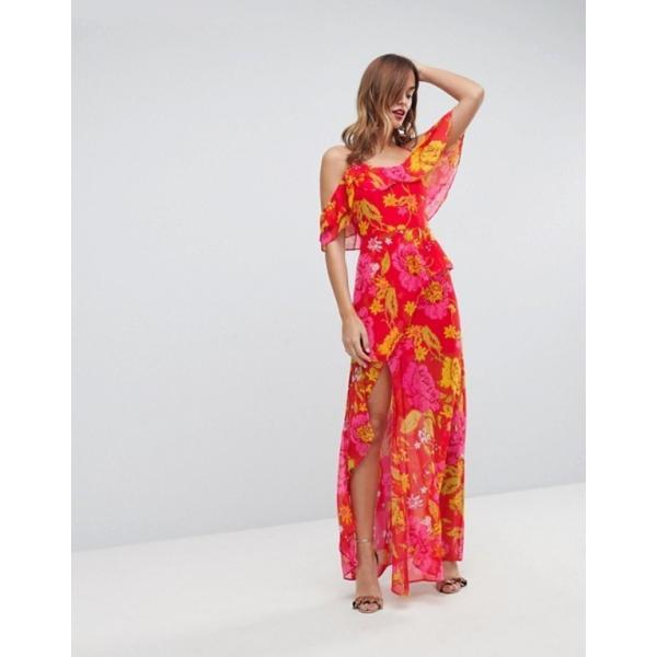 エイソス レディース ワンピース トップス ASOS Ruffle Cami Maxi Dress in Bright Floral Print