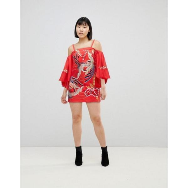 エイソス レディース ワンピース トップス ASOS Bardot Mini Dress With Embroidery