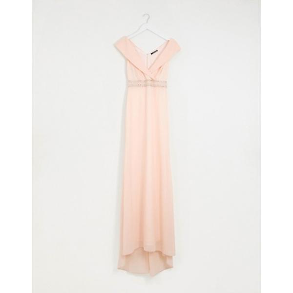 ティエフエヌシー レディース ワンピース トップス TFNC Bardot Maxi Bridesmaid Dress  With Fishtail and Embellished Waist
