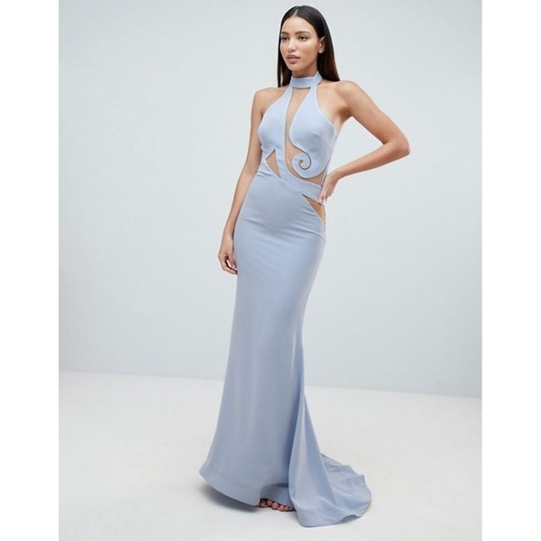 フォーエバーユニーク レディース ワンピース トップス Forever Unique Halter Swirl Mesh Maxi Dress