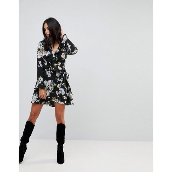 リクオリッシュ レディース ワンピース トップス Liquorish Floral Print Wrap Ruffle Dress