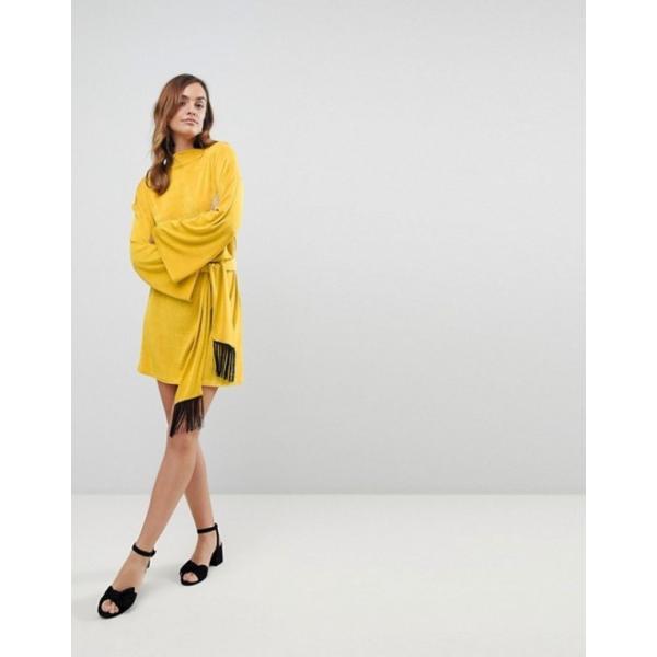 エイソス レディース ワンピース トップス ASOS Kimono Sleeve Mini Dress With Self Tie Fringe Belt
