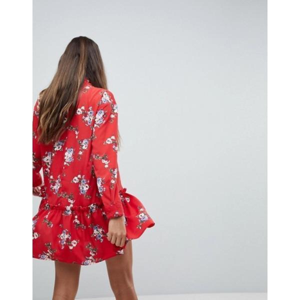 エイソス レディース ワンピース トップス ASOS DESIGN smock mini dress with pep hem in red floral