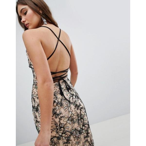 エイソス レディース ワンピース トップス ASOS DESIGN Floral embroidered mesh cami plunge pencil dress