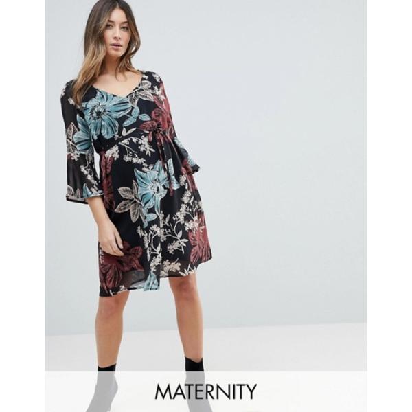 ママライシアス レディース ワンピース トップス Mamalicious Botanic Printed Dress With Frill Sleeve
