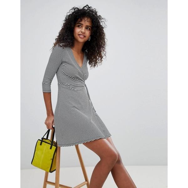 ニュールック レディース ワンピース トップス New Look Stripe Wrap Mini Dress