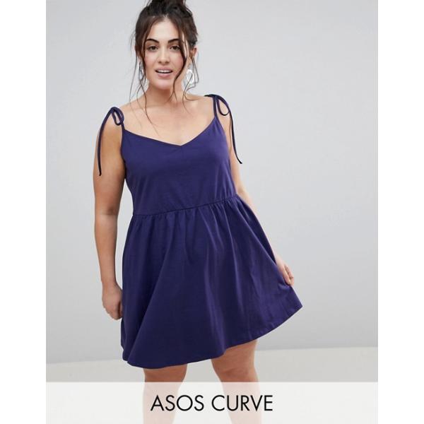 エイソス レディース ワンピース トップス ASOS DESIGN Curve mini smock sundress with tie straps