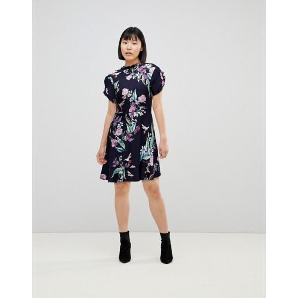 オアシス レディース ワンピース トップス Oasis Ruffle Sleeve Floral Printed Skater Dress