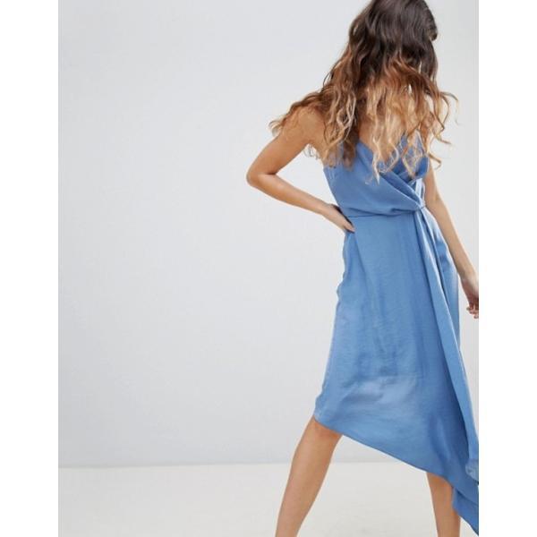 エイソス レディース ワンピース トップス ASOS DESIGN Hammered Satin Wrap Skirt Midi Dress