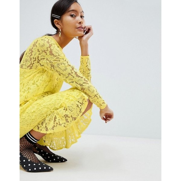 エイソス レディース ワンピース トップス ASOS DESIGN Lace Midi Swing Dress With Ruffle Hem