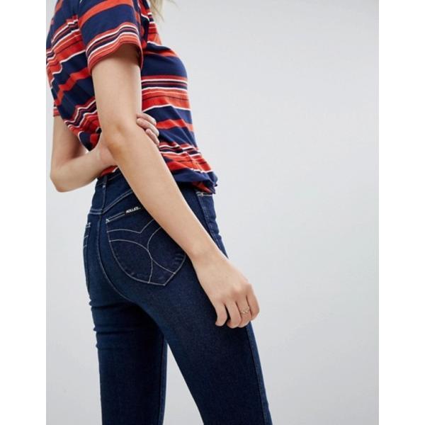 ボトムス デニムパンツ Rollas Eastcoast High Rise Skinny Jean with Contrast Stitching Blue ロラス レディース