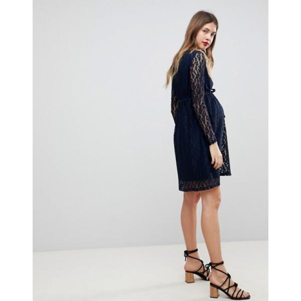 ママライシアス レディース ワンピース トップス Mamalicious Long Sleeve Lace Dress