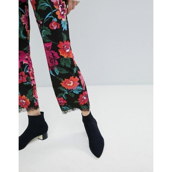 エイソス レディース カジュアルパンツ ボトムス ASOS Jersey Pants in Floral Print with Lace Hem
