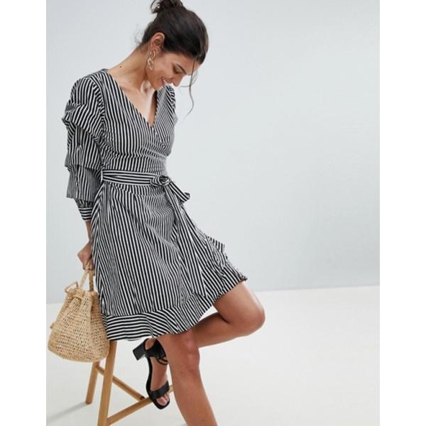 ヴィラ レディース ワンピース トップス Vila Stripe Wrap Dress
