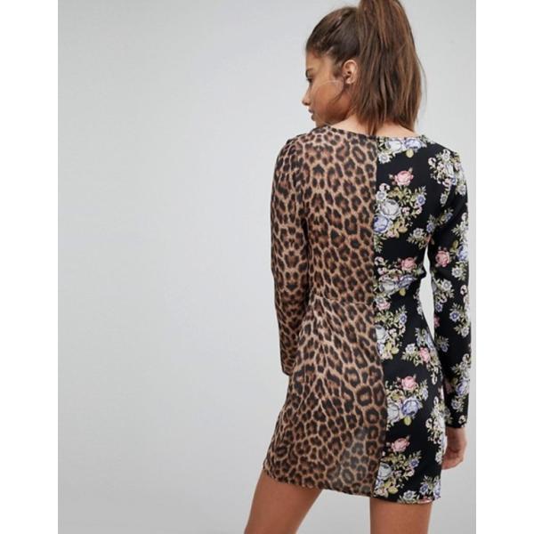 ミスガイデッド レディース ワンピース トップス Missguided Floral And Leopard Print Plunge Neck Mini Dress