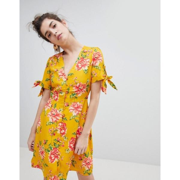 ネオンローズ レディース ワンピース トップス Neon Rose Tea Dress With Tie Sleeves In Vintage Bloom