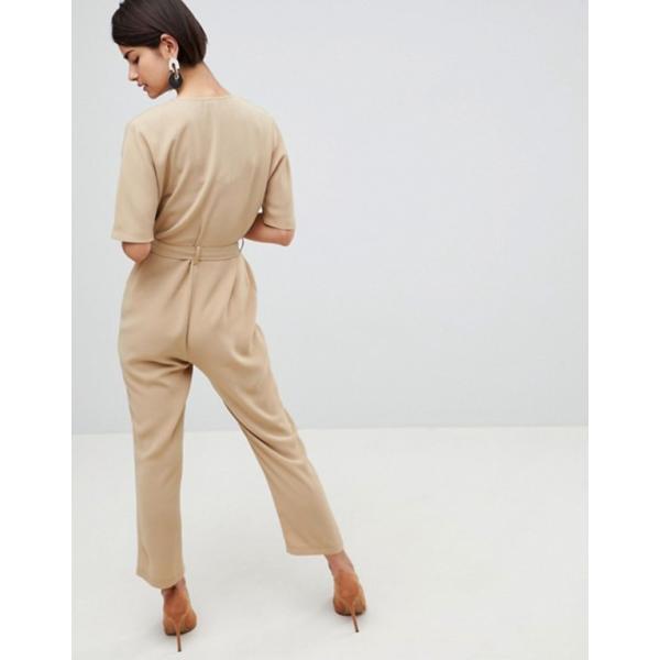 エイソス レディース ワンピース トップス ASOS DESIGN Wrap Jumpsuit With Self Belt