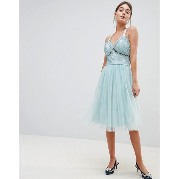 チチロンドン レディース ワンピース トップス Chi Chi London Tulle Midi Dress With Lace Detail