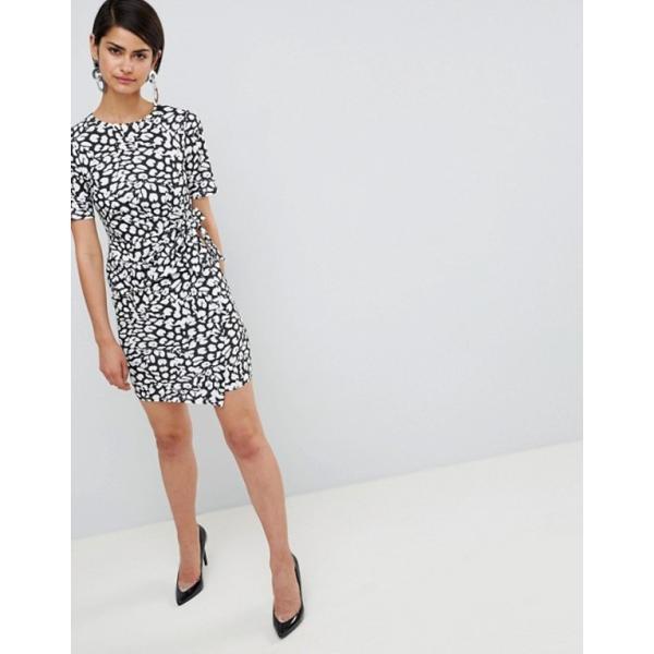 エイソス レディース ワンピース トップス ASOS DESIGN mini dress with wrap skirt in animal print