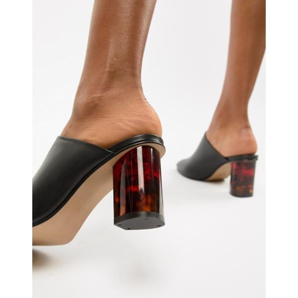 カートジェイガーロンドン レディース ヒール シューズ Kurt Geiger Black Leather Mules With Tortoise Effect Contrast Heel