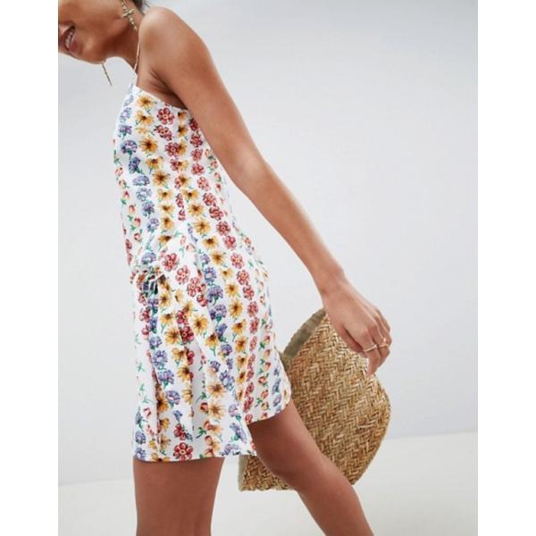 エイソス レディース ワンピース トップス ASOS DESIGN Square Neck Wrap Front Mini Sundress In Linear Floral
