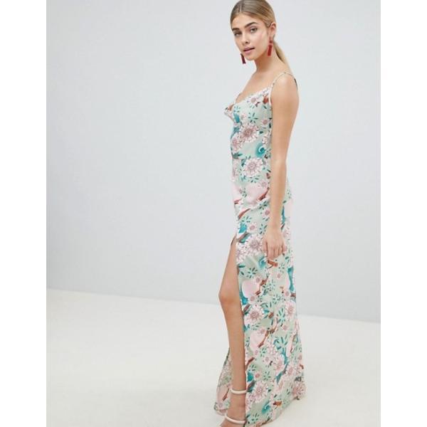 プリティリトルシング レディース ワンピース トップス PrettyLittleThing Floral Maxi Dress With Side Split