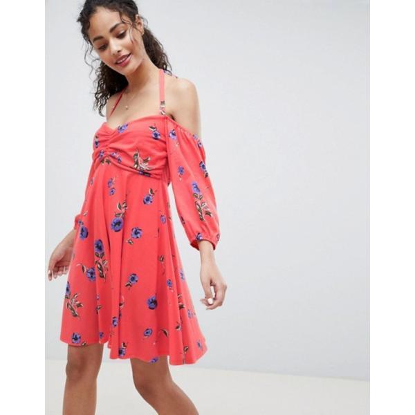 エイソス レディース ワンピース トップス ASOS DESIGN bardot sundress with bubble sleeves in floral print